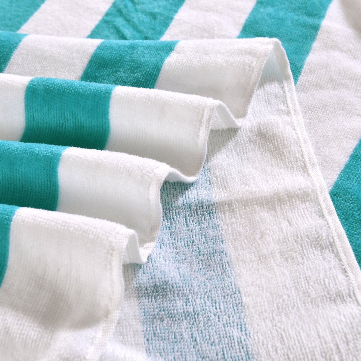 100% Cotton Cabana Striped Beach Towel Caribbean Blue and White (30\