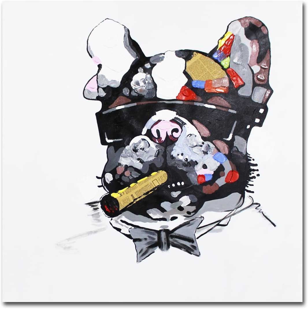 Muzagroo Art Oil Painting Smoking Dog Cool Art Hand Painted Large Size Canvas Art for Living Room 32x32in, Smoking Dog 1