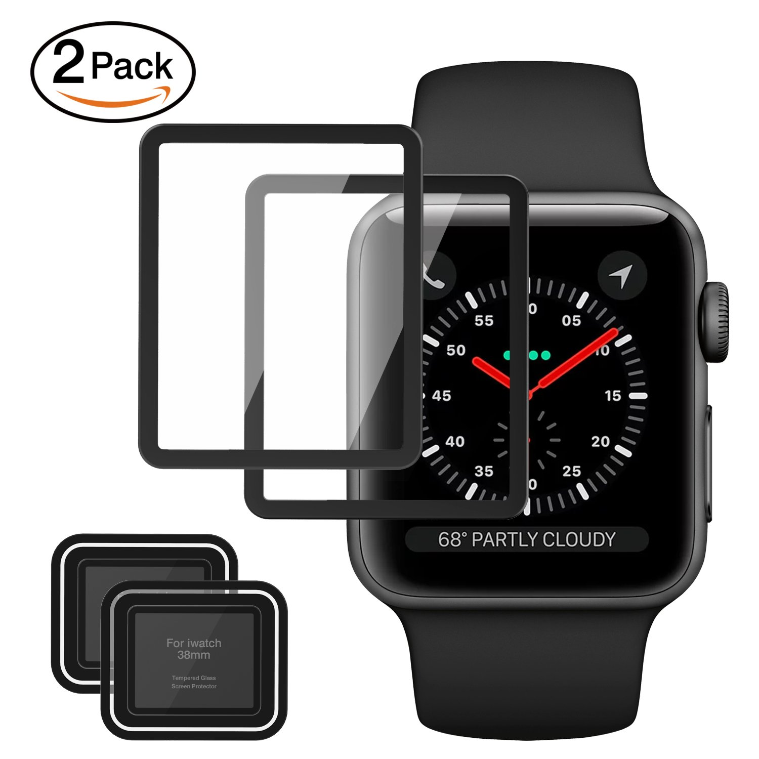 MoKo Tempered Glass Screen Protector for Apple Watch 38mm, [2-PACK] Premium HD Clear Shield Cover Anti-Scratch Film for iWatch 38mm Series 1/2/3 2017, Black (Not Fit Apple Watch 42mm)