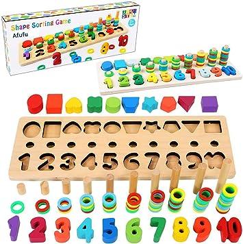 Afufu Juguetes Bebe 1 2 3 4 5 6 años Niños, Juegos de Madera Educativos Tablero de Conteo de Números de Apilamiento de Clasificación Matemática Aprendizaje de Juegos, Regalo de cumpleaños, Navidad: Amazon.es: Juguetes y juegos