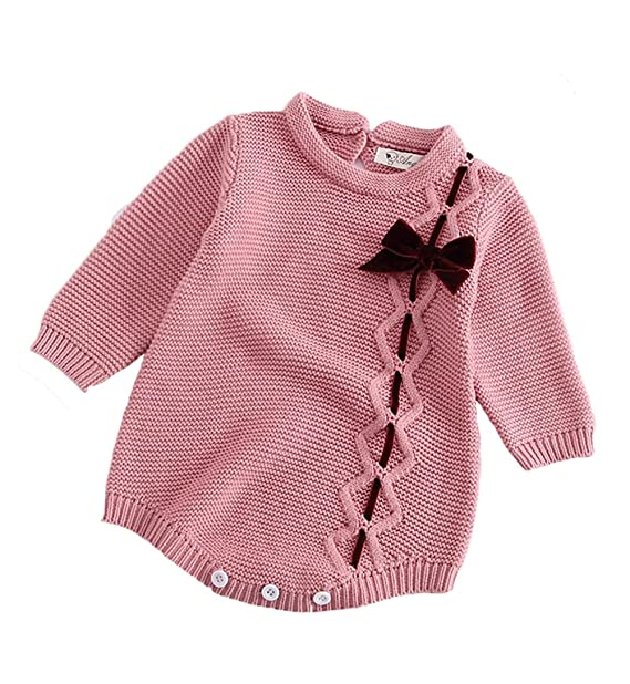 a855a9e4319 Pinleck Newborn Baby Girls Knit Romper Long Sleeve Sweater Bowknot Bodysuit  Jumpsuit (Pink