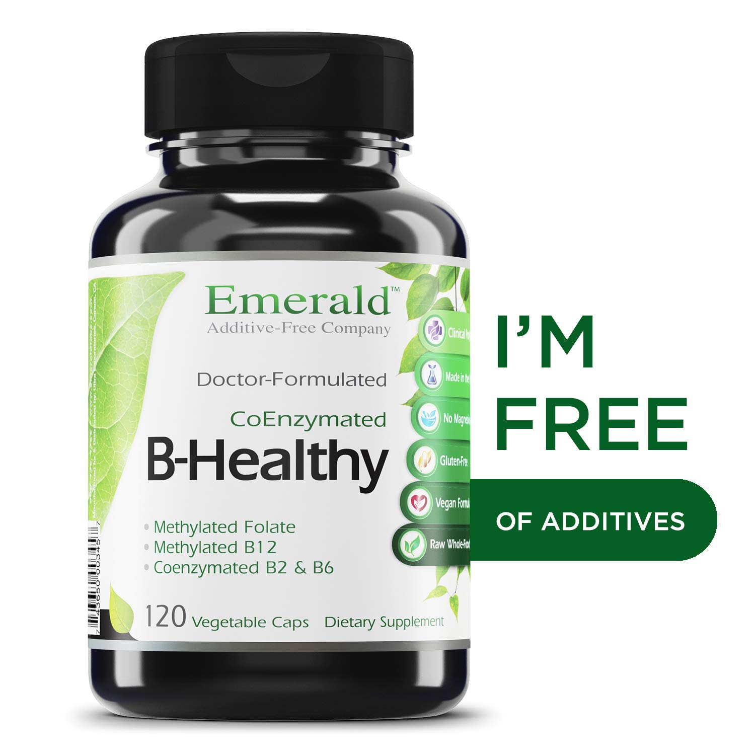B Healthy - with L-5 Methyltetrahydrofolate (5-MTHF) Coenzymated Folic Acid - Helps Improve Energy, Lower Stress, Fatigue, Healthy Immune System - Emerald Labs - 120 Vegetable Capsules by Emerald Laboratories