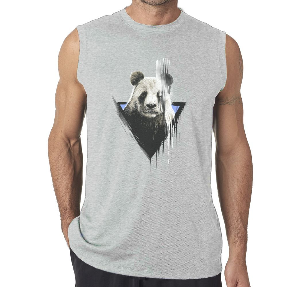 Oopp Jfhg Vest Sleeveless T-Shirts Fit Mens The Faded Panda Paint Muscle