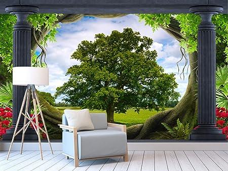 Columna romana bosque prado paisaje 3d papel pintado mural tv sala ...