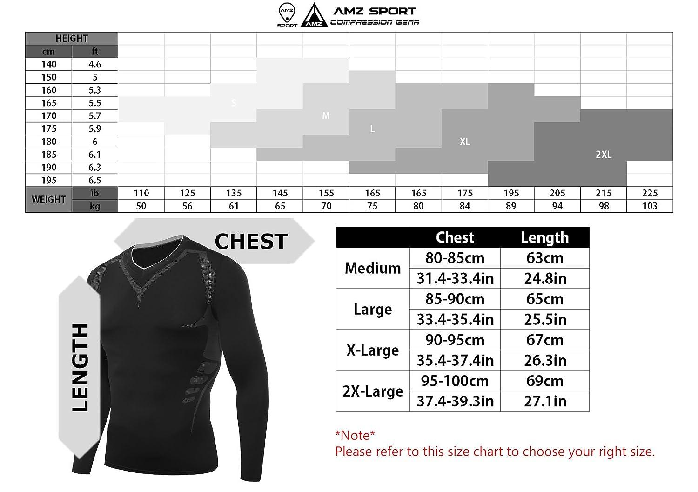 AMZSPORT Maillot Compression /à Manches Longues pour Homme Sports S/échage Rapide Baselayer Haut All-Season