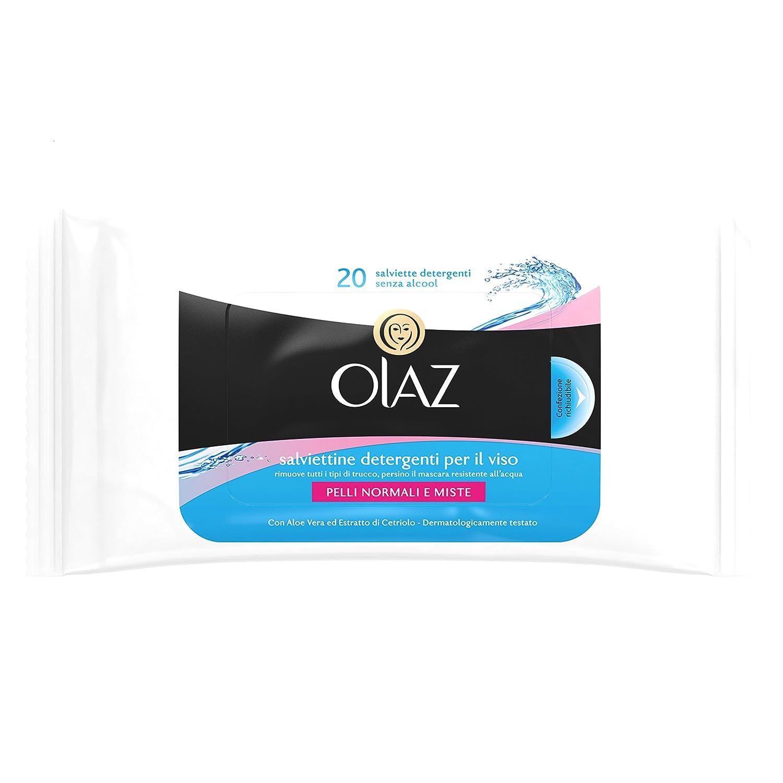 Olaz Salviettine Detergenti per il Viso, Confezione Richiudibile da 20Pezzi, Pelli Normali e Misti Procter & Gamble IT 5410076550951