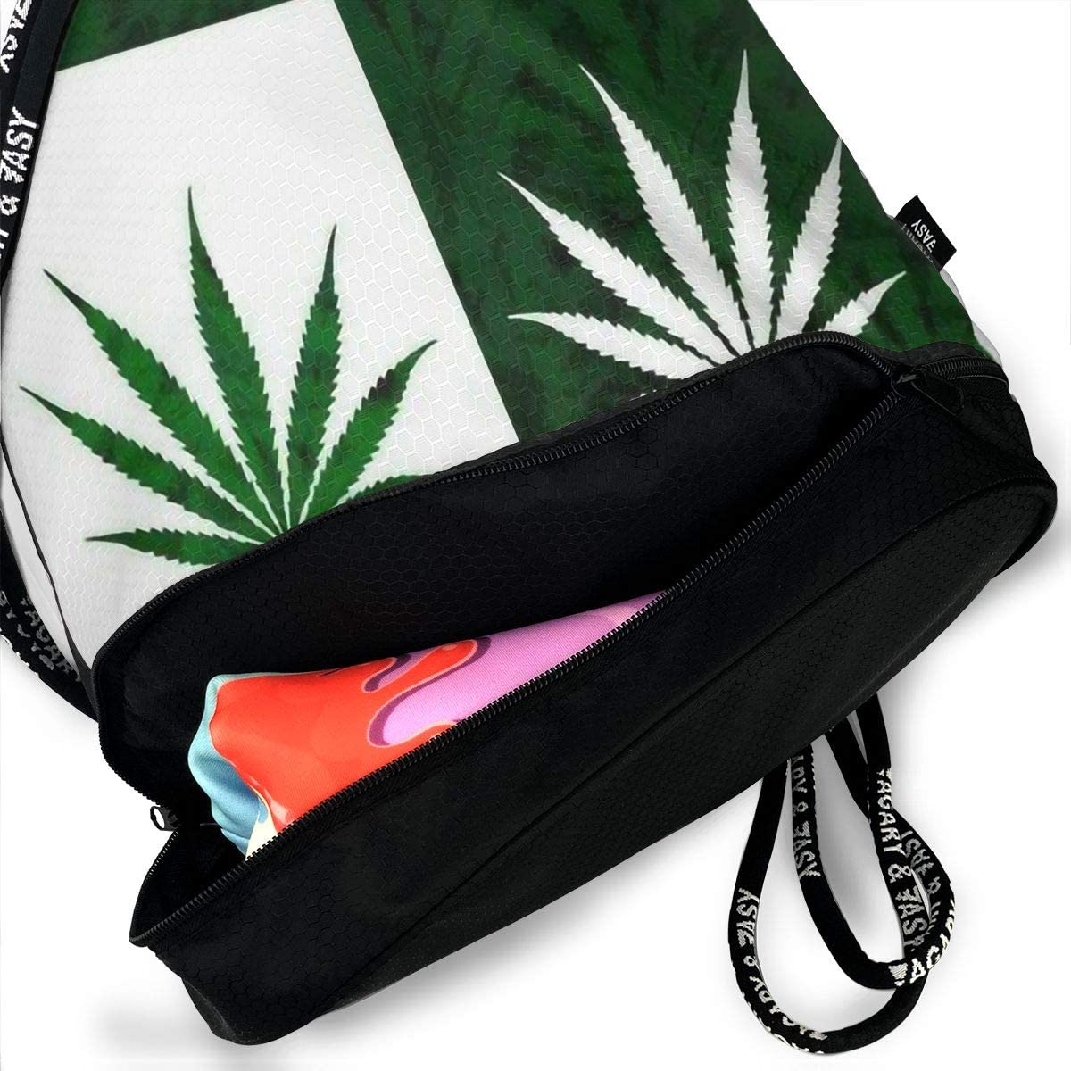 Drawstring Backpack Leaf Weed Rucksack