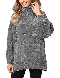d9996627e Sweaters for Women Turtle Cowl Neck Vertical Stripe Velvet Yarn Long ...