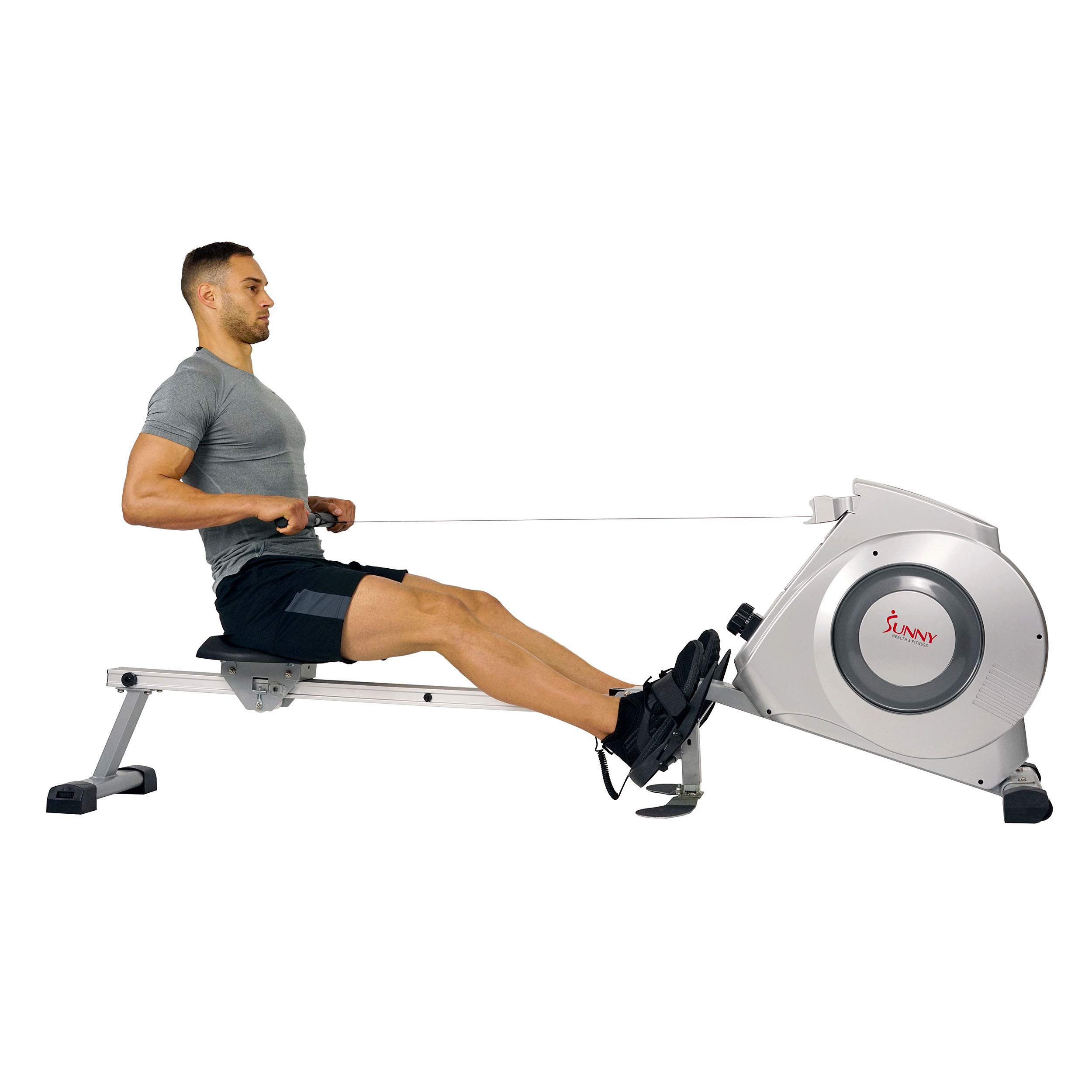 Sunny Health & Fitness Magnetic Rowing Machine w/ Digital Monitor, 300 LB Weight Capacity, Dual Function Multi-Exercise Foot Plates and Portability Wheels -  SF-RW5612