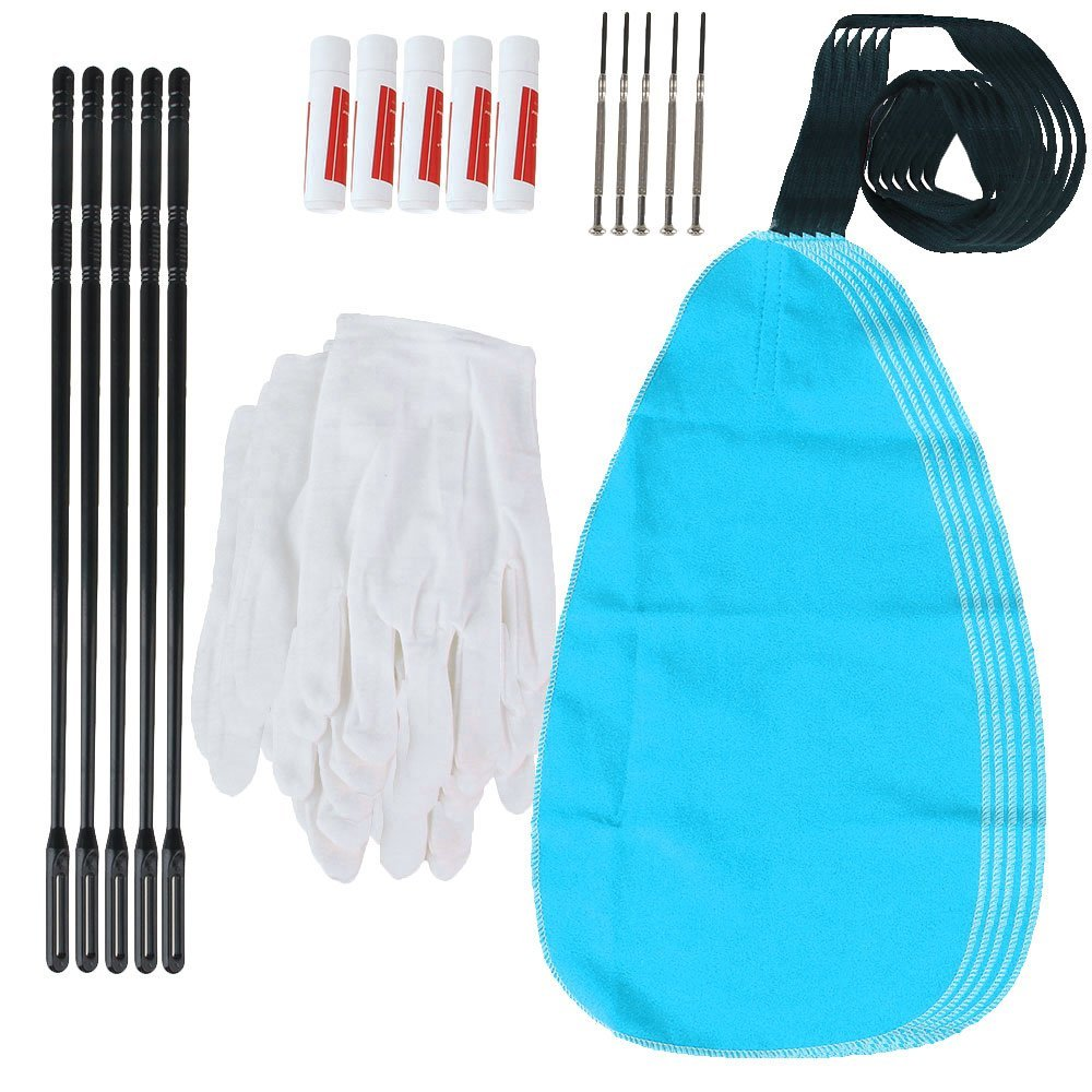 Yibuy Flute Cleaning Kit Set with Cleaning Cloth Stick Cork Grease Screwdriver Gloves Set of 25 etfshop YB2736