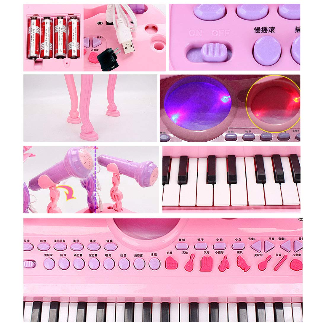 Forweilai Multifunktions 37 Mini-Tasten Musik Musik Musik Klaviertastatur Tragbare Elektronische Musikinstrument mit Mikrofon Für Kinder - (Rosig) 8e885b