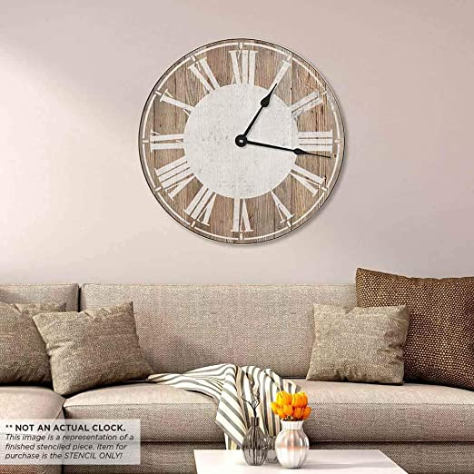 Home Arts Crafts Farmhouse Clock Wall Stencil Quick And Affordable Stencil For Diy Wall Art Rudisbakery Com