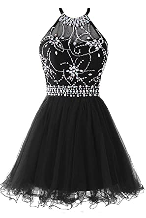 12ea3dc57ab Lily Wedding Juniors Halter Crystals Tulle Prom Dresses 2019 Short Formal  Party Gowns FHD009 Size 2