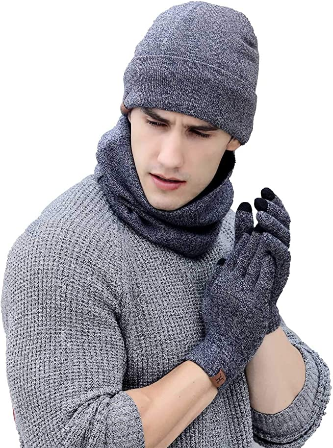 QS_Go Sombrero Babero Guantes de Tres Piezas Sombreros de Hombre ...