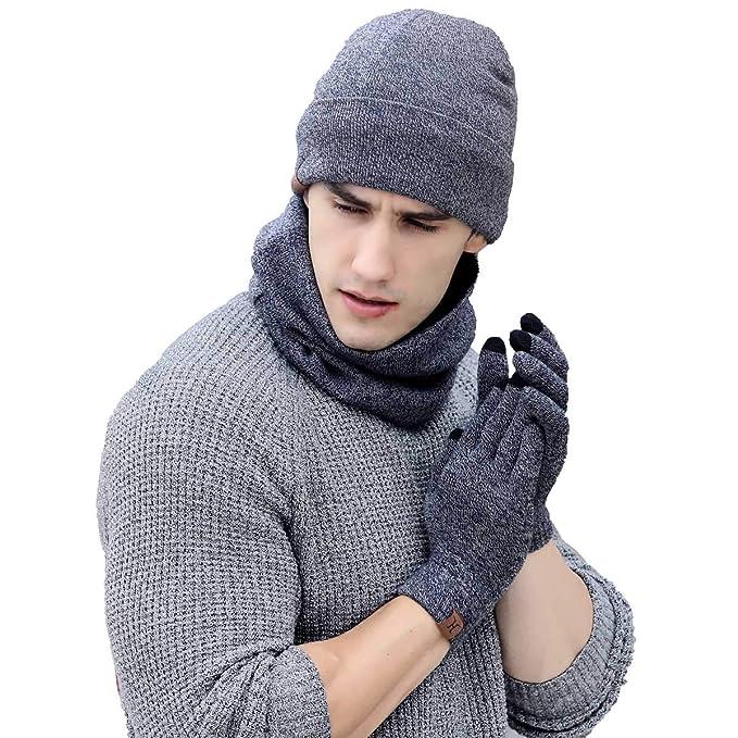 QS_Go Sombrero Babero Guantes de Tres Piezas Sombreros de Hombre Gorros de Lana Gorros Invierno Sombreros