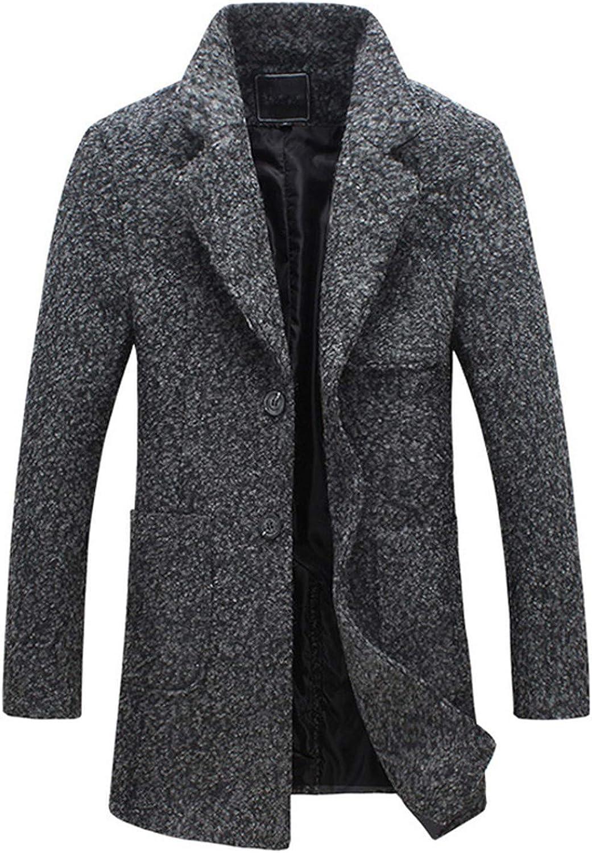 Bejoin Autumn Men dust Coat Woolen Overcoat Slim fit Outwear 2 Colors M-5XL,Light Chinese Size,XXL