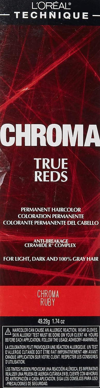 L'oreal Paris Chroma True Reds Permanent Hair Color, Chroma Ruby, 1.74 Ounce