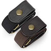 2 Pack Buckle Free Comfortable Elastic Belt for Wmen or Men, Buckle-less No Bulge No Hassle Invisible Belts