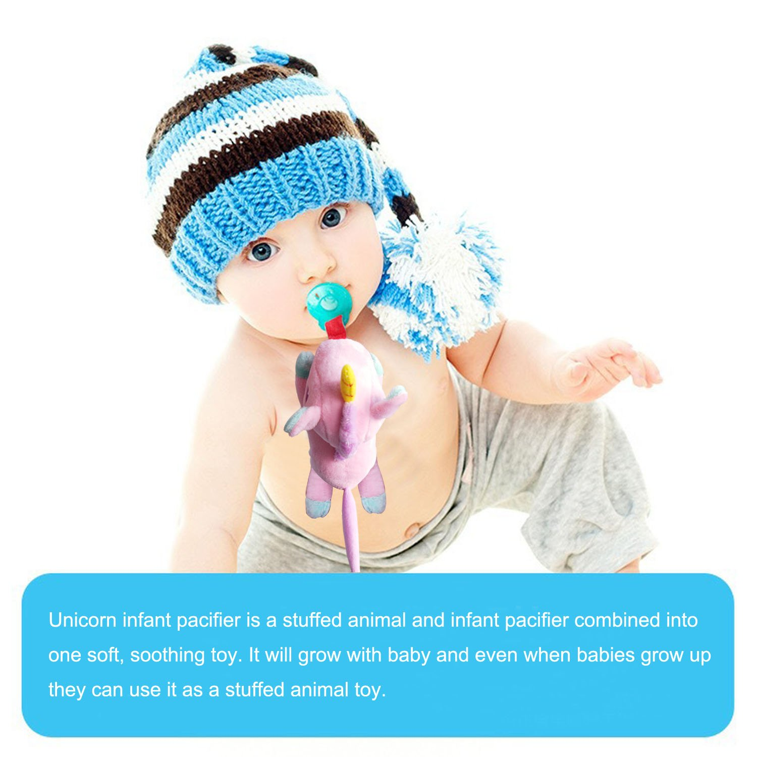 Hombae Baby Pacifier Holder Stuffed Animal for Baby Girls&Boys :: Infant Soothie Pacifier and Teether Holder with Clip, Blue Unicorn
