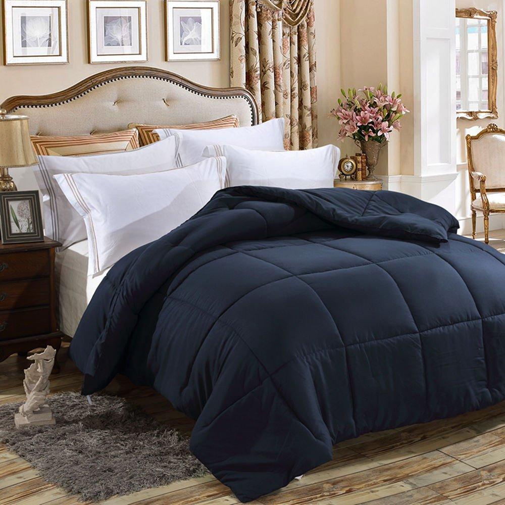 FLC Solid Down Alternative Comforter, Duvet Insert, Medium Weight for All Season, Fluffy, Warm, Soft & Hypoallergenic by (Navy, Twin)