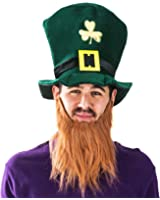 St. Patrick Day Costume Leprechaun Top Hat and Beard Accessory Funny Party Hats