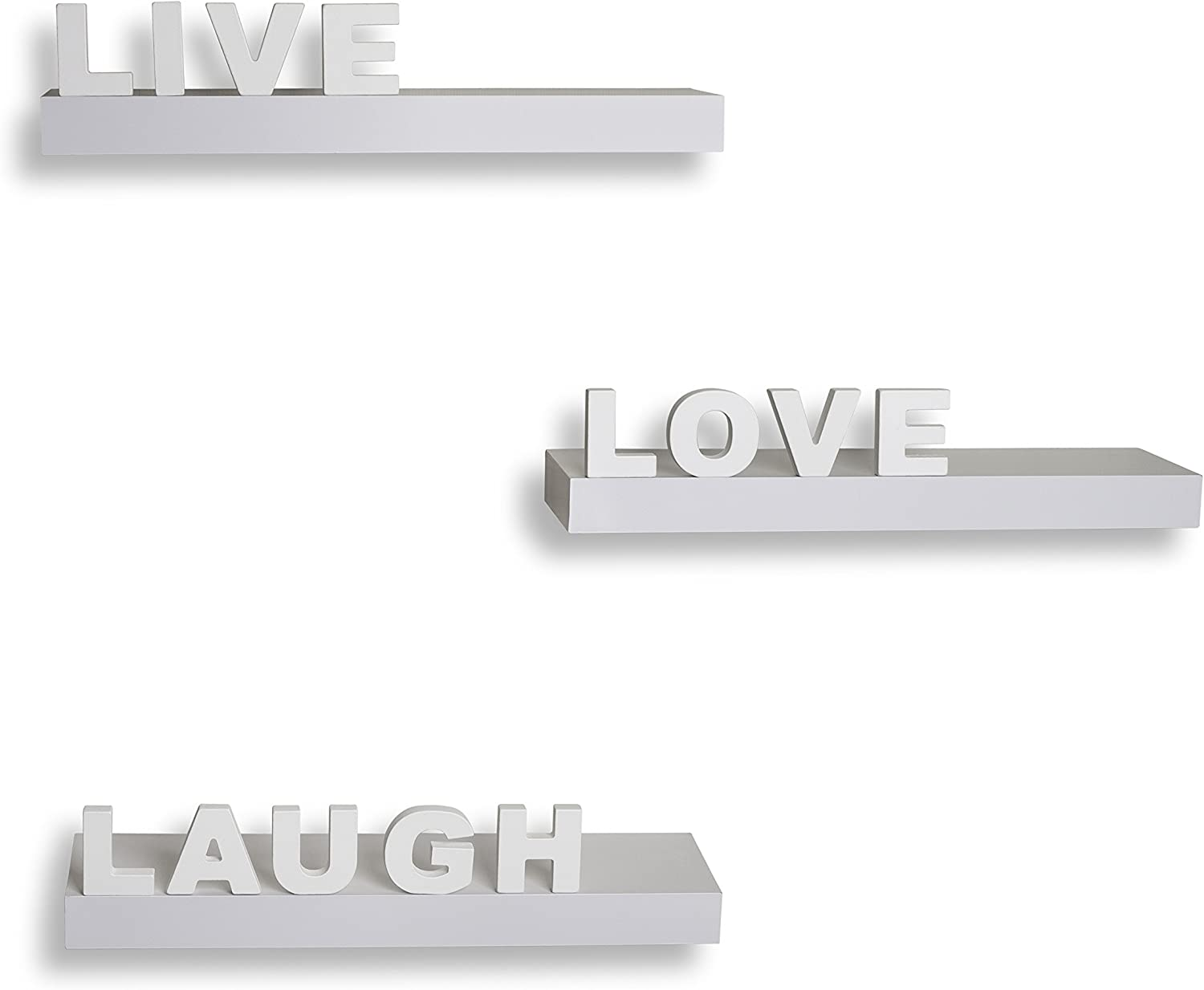 White 3 pc Accent Wall Shelf Family Live Laugh Love Quotes Display Decor Gift