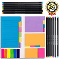 Large and Small Sticky Notes Set with Fineliner Color Pen Set- 60 Ruled Lined Notes (4x6),48 Dotted Notes (3x4),48 Blank Notes(4x3),48 Orange(2x2) and Pink(1.5x2),150 Inde x Tabs - 414 pcs in Total