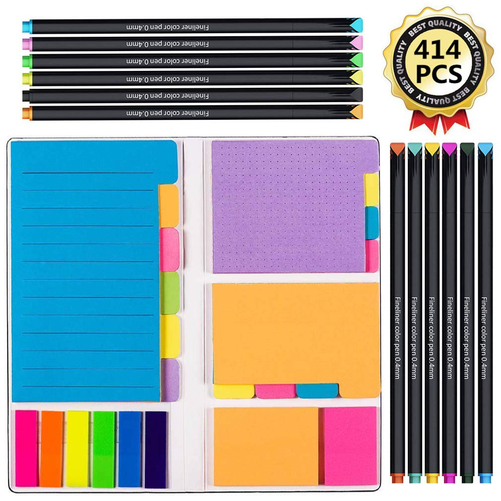 Vicnova Large and Small Sticky Notes Set with Fineliner Color Pens Set- 60 Ruled Lined Notes 4x6, 48 Dotted Notes 3x4, 48 Blank Notes 4x3,48 Orange 2x2 and Pink 1.5x2, 150 Inde x Tabs - 414 pcs by VICNOVA