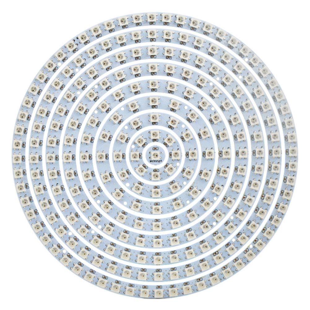 XUNATA Addressable WS2812B SK6812 Round Ring Pixel LED Lamp Light 5050 RGB Arduino 5V (1 Pc 241 LEDs/Ring, White Board)