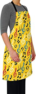INTFULIHU Music Note Symbol Adjustable Bib Apron Waterdrop Resistant,Music Life Unisex Cooking Kitchen Aprons for Chef Couple BBQ Painting