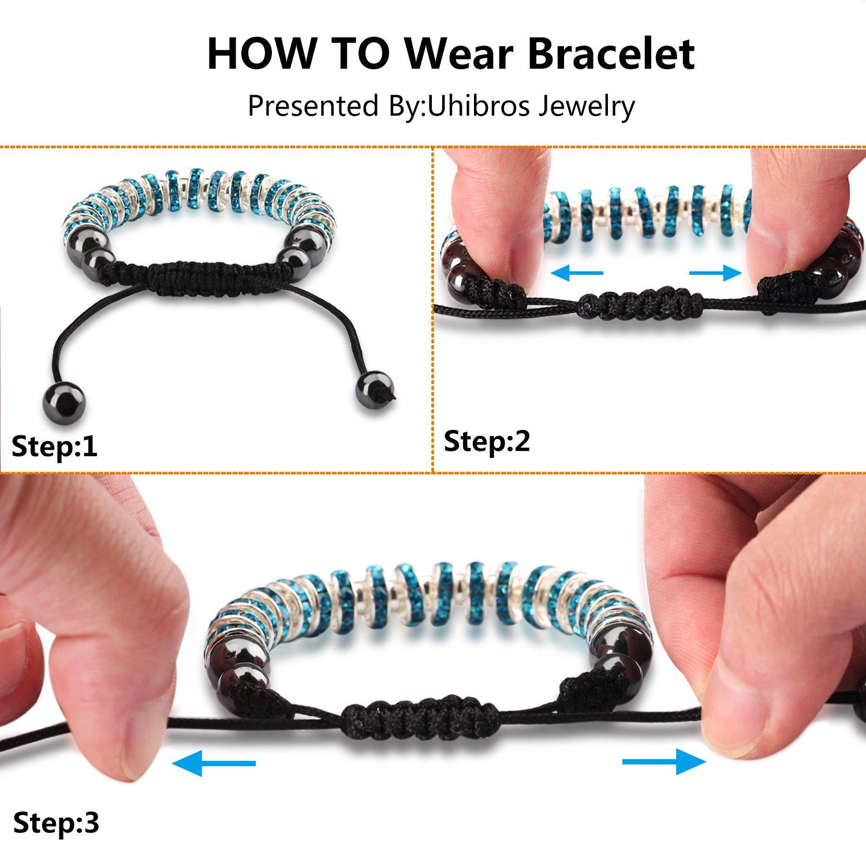 Zircon Stoppers Macrame Bracelet,UHIBROS Multicolor Crystal Unisex Adjustable Fashion Braid Bracelet Lake Blue Stoppers Beads Braiding Bangle