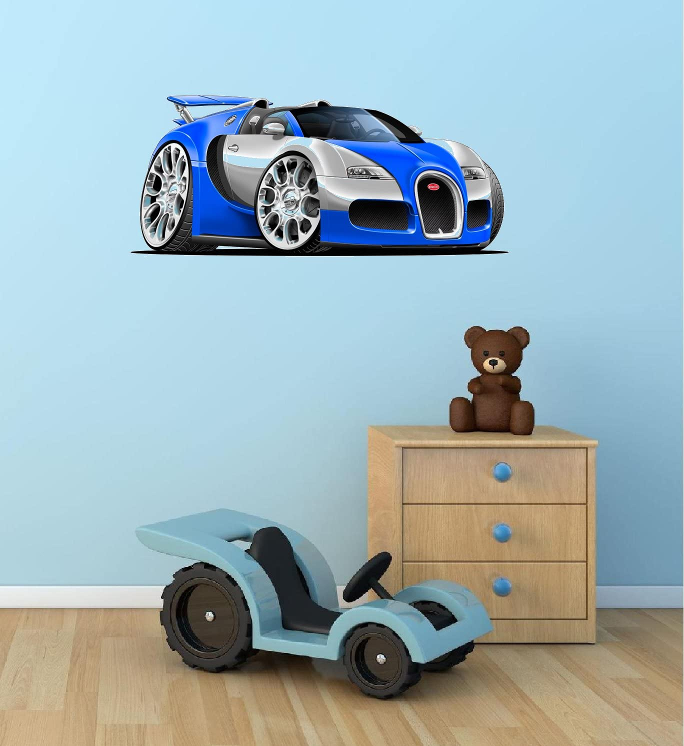 "24"" 2010 Bugatti Veyron Grand Sport BLUE w/ SILVER super car cartoon Wall Graphic Sticker Decal Kids Race Game Room Man Cave Garage Art Room Decor NEW"