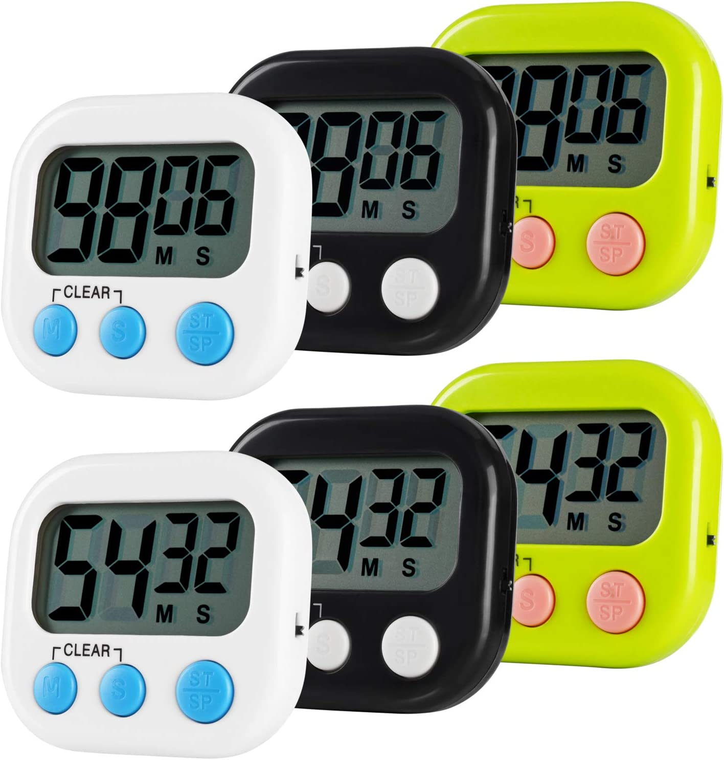 Jsdoin 6 Pack Digital Kitchen Timer Magnetic Back,Loud Alarm, Countdown Timer Management,for Cooking Baking Sports Games Office