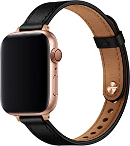 OUHENG Slim Band Compatible with Apple Watch Band 40mm 38mm 44mm 42mm, Women Genuine Leather Band Replacement Thin Strap for iWatch SE Series 6 5 4 3 2 1 (Black/Rose Gold, 40mm 38mm)