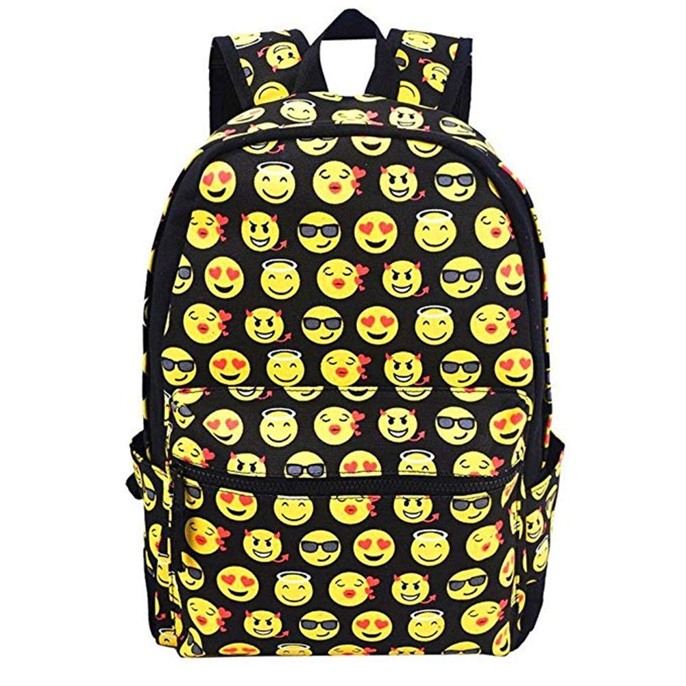 Emoji Kids School Canvas Backpack Smiling Face Satchel for Traveling Shopping Casual Daypacks ONEGOL-IBB-01