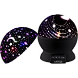 Night Light Kids Lamp, Romantic Rotating Sky Moon & Cosmos Cover Projector Night Lighting for Children Adults Bedroom, Baby Nursery Light, Living Room Gift (Black)