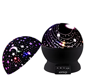Night Light Kids Lamp Romantic Rotating Sky Moon Cosmos Cover Projector Night Lighting For