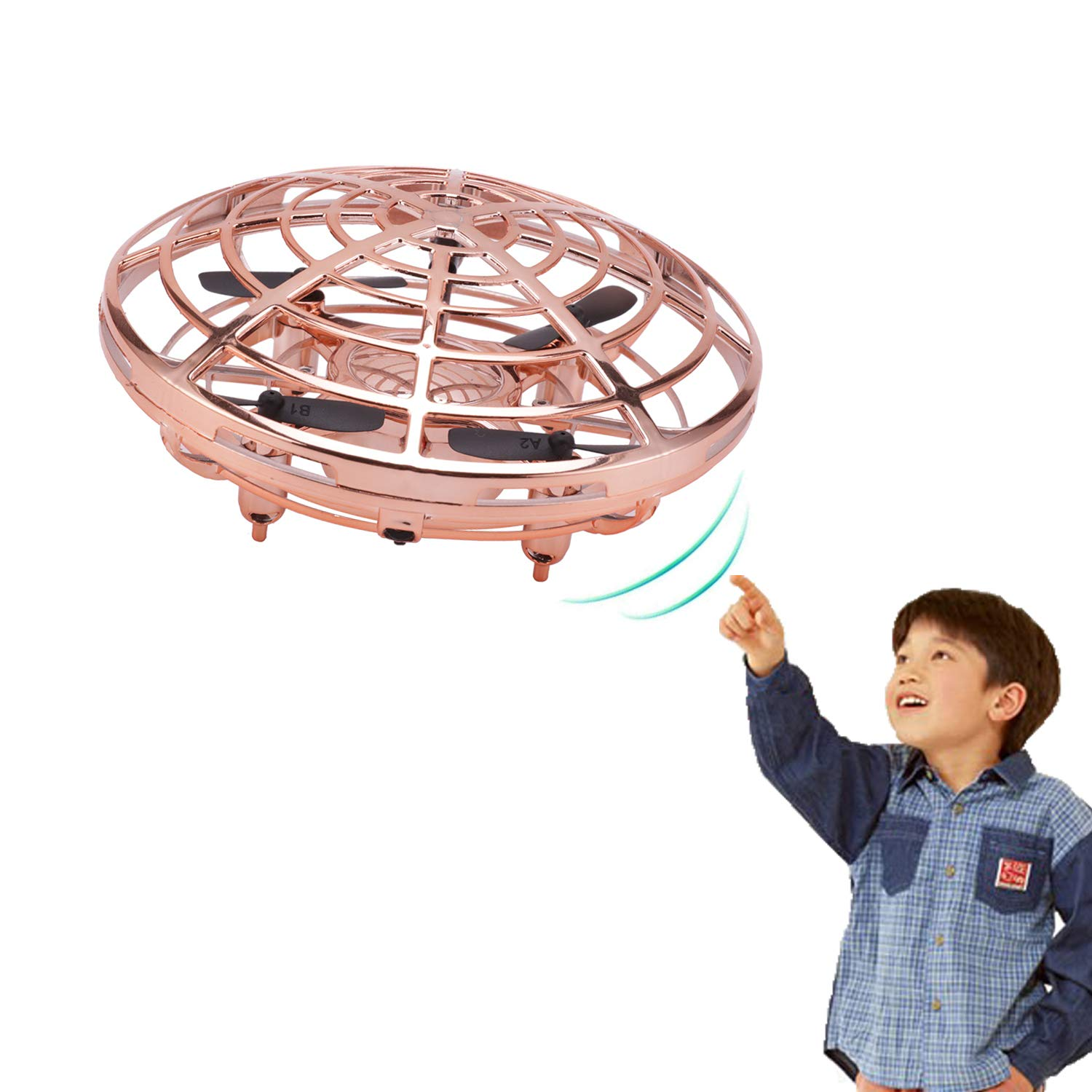 Greatstar Mini Drone Flying Toy, Quadcopters Flying Ball, Magic Hand-Controlled Flying Ball Interactive Infrared Induction Helicopter Ball with 360°Rotating and Shinning LED Lights (Gold) by Greatstar
