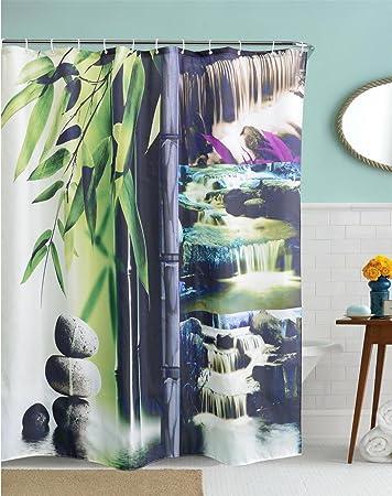 Gymnljy 3d Bambus Wasserfall Drucken Polyester Duschvorhang
