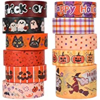 Halloween Holiday Washi Tape - Cute Orange Washi Tape Set with Cat, Pumpkin, Ghost, Star, Witch, Perfect for Bullet…