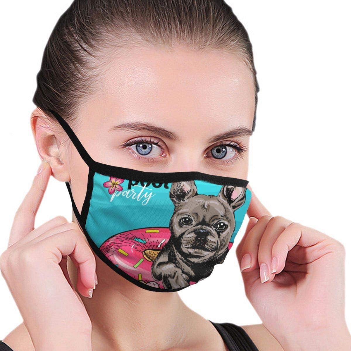 Retrato Bulldog francés Perro Natación Animales Fauna Máscara cómoda a Prueba de Viento con Decoraciones faciales Impresas para Mujeres y Hombres