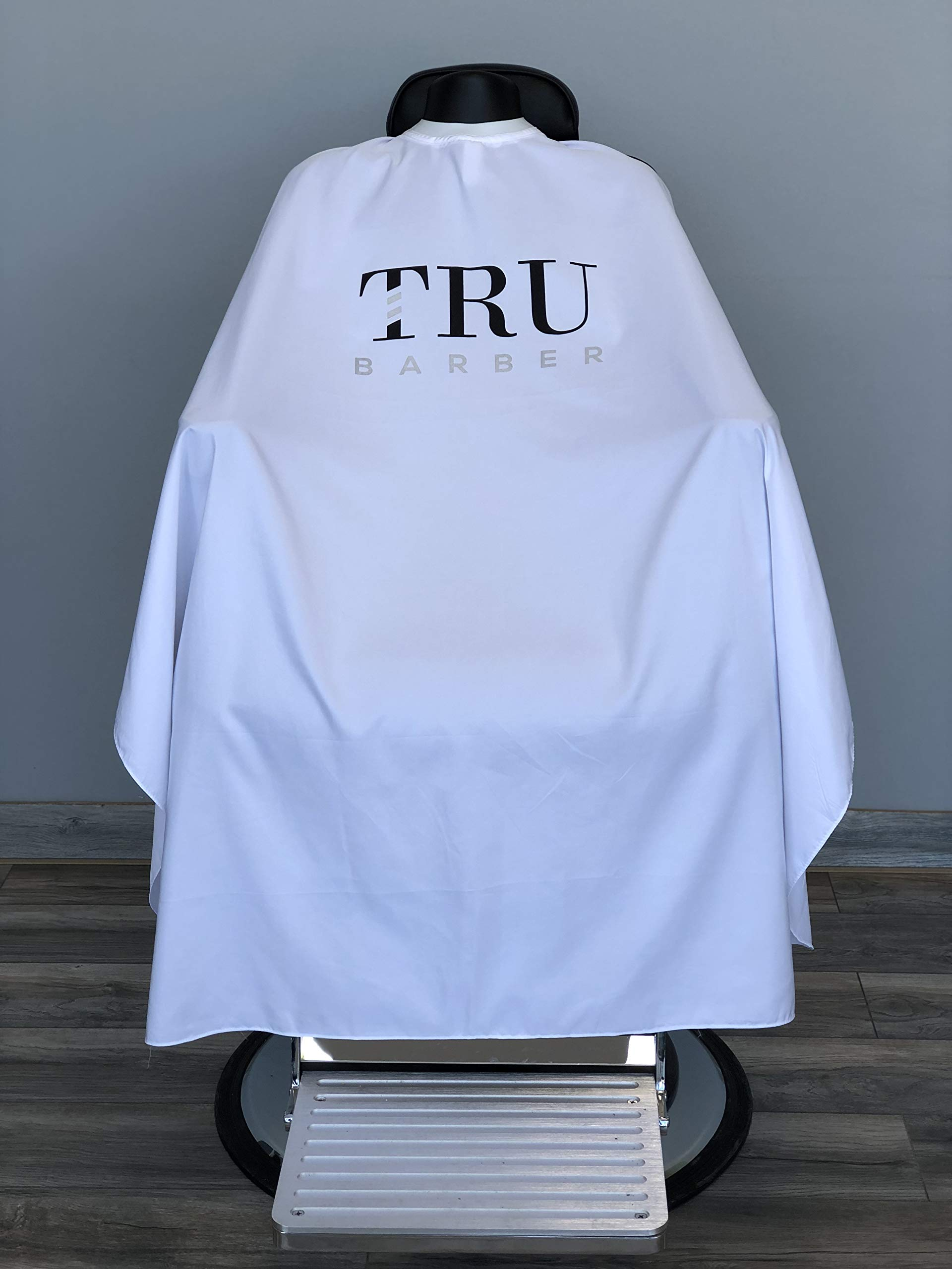 TRU BARBER Silicone neck cape, 100% Polyester, light weight cape and Waterproof, Professional Salon Cape with Snap Closure Hair Salon Cutting Cape, Barber Cape, Barbershop cape, 50'' x 58'' (White) by TRU BARBER