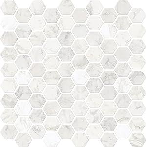 In Home NH2359 Hexagon Faux Marble Peel & Stick Backsplash Tiles, White & Off-White