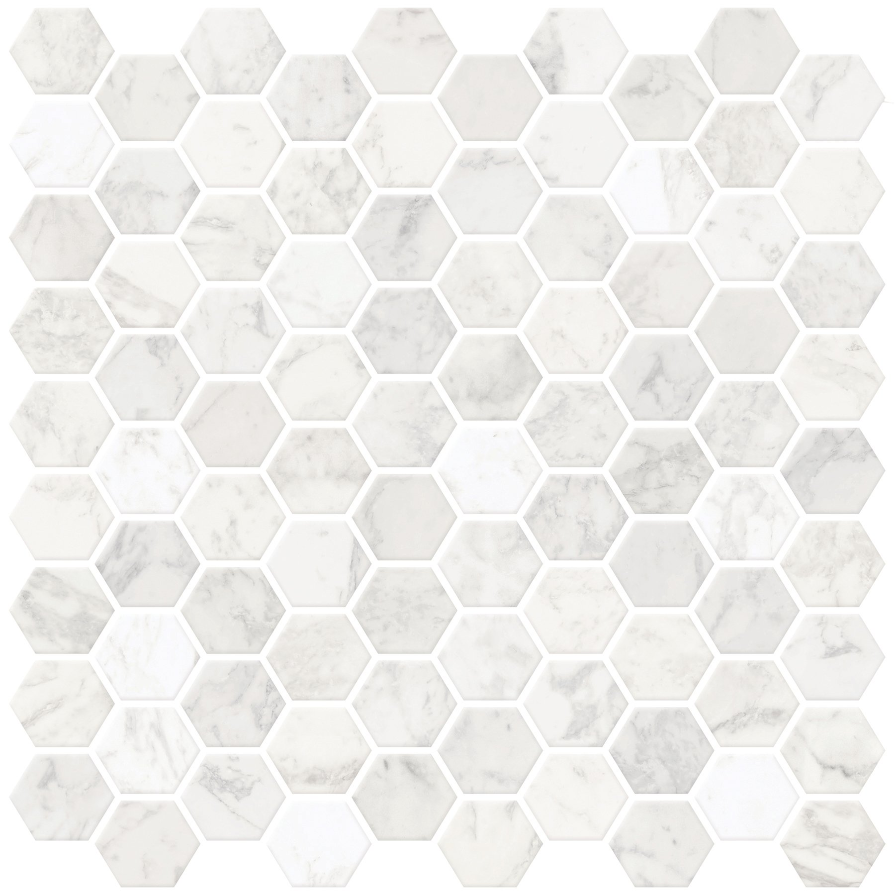 In Home NH2359 Hexagon Faux Marble Peel & Stick Backsplash Tiles, White & Off-White by In Home