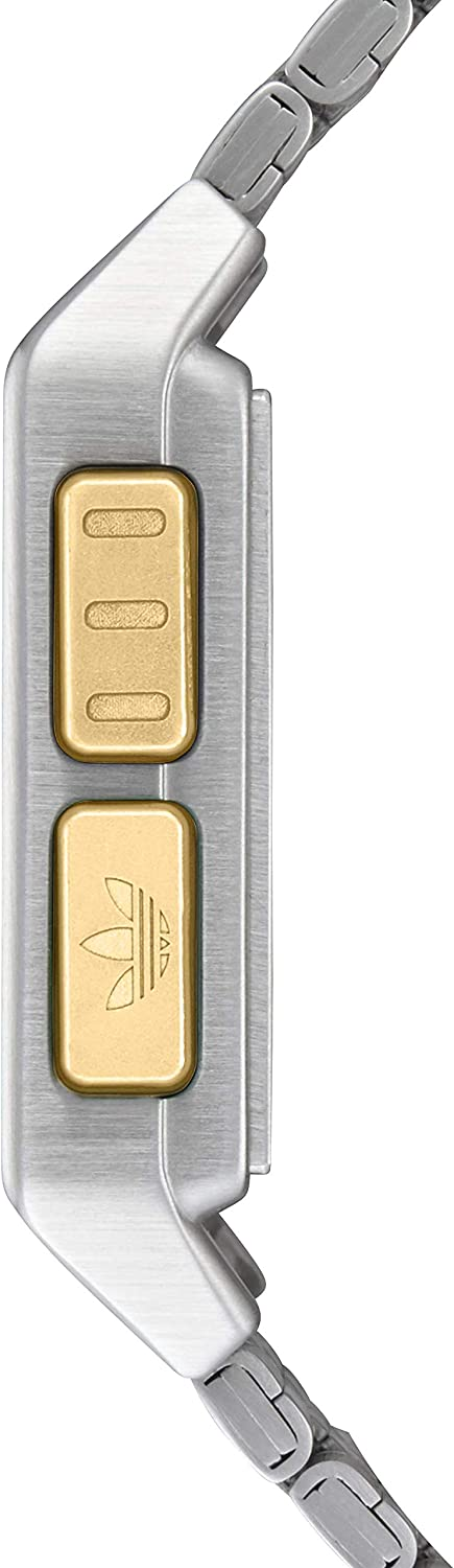 Adidas Watches Archive_M1. Men's 70's Style Stainless Steel Digital Watch with 5 Link Bracelet (36 mm). Silver / Gold