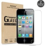(Pack of 2) iPhone 4/4S Screen protector, Akwox Ultra thin 0.33mm HD Clear 9H Tempered Glass Screen Protector For iPhone 4/4S - Max Clarity And Touch Accuracy Film