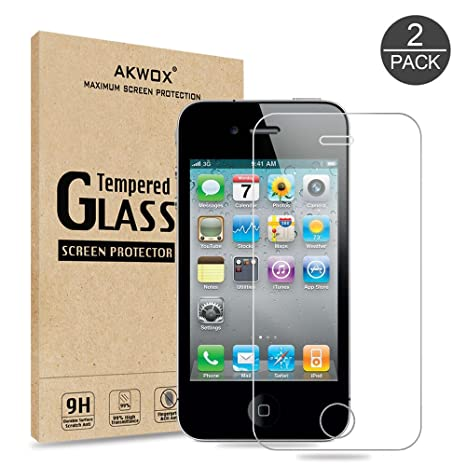 Review (Pack of 2) iPhone 4/4S Screen protector, Akwox Ultra thin 0.33mm HD Clear 9H Tempered Glass Screen Protector For iPhone 4/4S - Max Clarity And Touch Accuracy Film