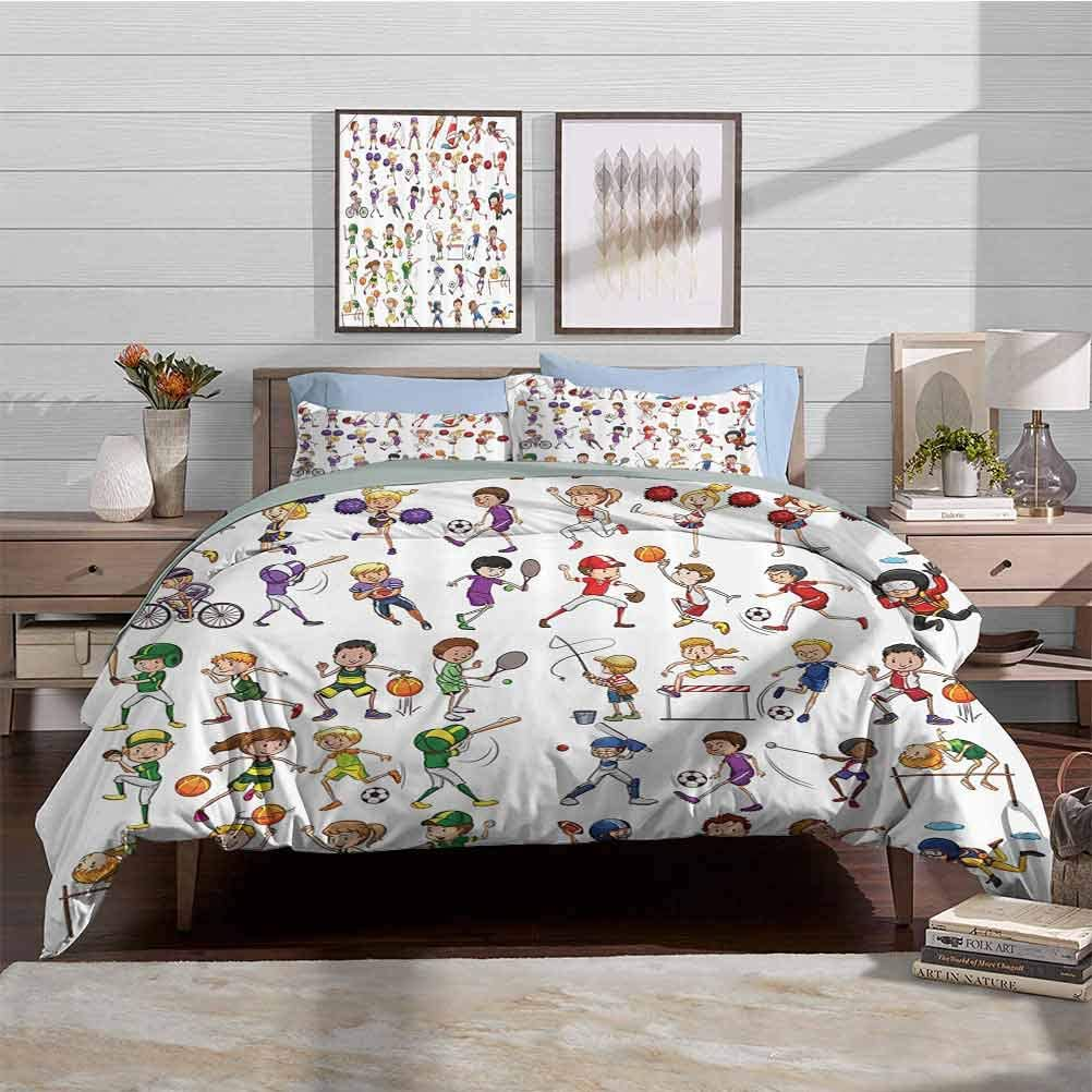 Duvet Cover Set Modern Simple Style Bedding Set Kids Playing Various Sports Illustration Cheerleader Boys Girls Children Picture Decorative 3 Piece Bedding Set with 2 Pillow Shams, King Size