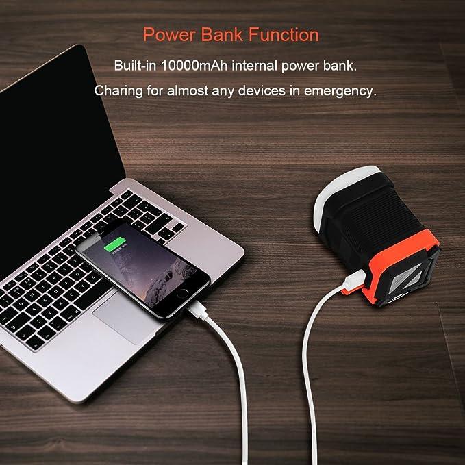 Viugreum® Linterna LED Camping, Portátil Linterna USB Recargable IPX65 Impermeable con Función Banco de energía 10000mAh