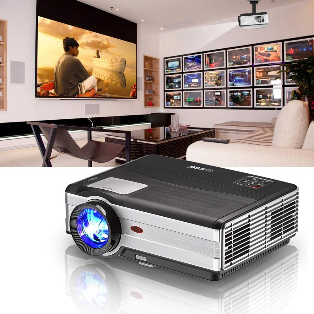 Projector 4200 Lumens Home Theater Projector LED LCD Smart Multimedia Support Full HD 1080P Wuxga Movie Gaming VGA USB HDMI TV 3.5mm Audio Jack AV for PS4 TV Stick Zoom Keystone Built-in Speaker